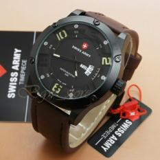 Swiss Army Original - Swiss Army Watch - Jam Tangan Pria - Fitur Tanggal & Hari - Swiss Army Tali Kulit Terbaru SA7568BS - Genuine Leather (Black Strap)