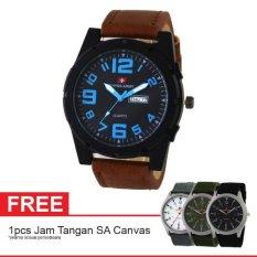 Swiss Army SA 0980 BRW BLUE Free Jam Tangan Swiss Army Kanvas - Jam Tangan Pria - Kulit - Coklat (One Size)