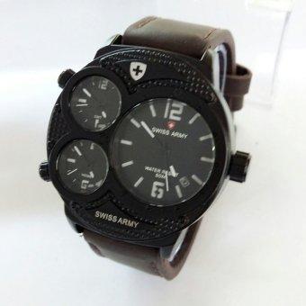 Swiss Army Sa 8023 Putih Jam Tangan Pria - Leather Strap - Coklat Tua