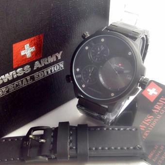 Swiss Army Sa.5133 paketORY Tripletime Tanggal Jam Tangan Pria Strap Kulit - Hitam