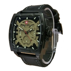 Swiss Army Skull - Jam Tangan Pria - Leather Strap - SA 4124 Full Black Skull