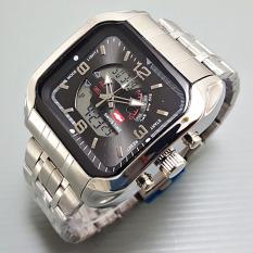Swiss Army / Time - Dual Time - Jam Tangan Pria - Silver Plat Hitam - SA2211 (One Size)