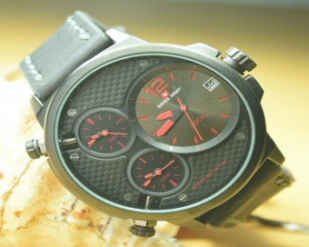 Swiss Army Triple Time Black Red Grid Merah (Jam Tangan Pria) Original