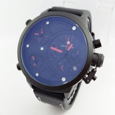 Swiss Army Triple Time SA4197ST - Jam Tangan Pria - Strap Tali Kulit - Chronograph - Hitam Merah