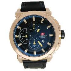 Swiss Navy Jam Tangan Pria Hitam Rosegold Leather Strap SN 8935 HR