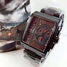Swiss Navy Triple Time - SN8949 - Jam Tangan Pria - Stainless Steel - Full Black-Red