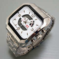 Swiss Time / Army Jam Tangan Pria - Stainlesstell Strap - Dual Time- S776 - Silve