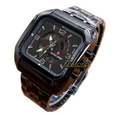 Swiss Time / Army Jam Tangan Pria - Stainlesstell Strap - Dual Time- SA 8080 Jts - Full Black