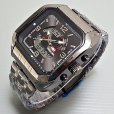 Swiss Time / Army Jam Tangan Pria ? Stainlesstell Strap ? Dual Time- SA9782HDG564 Hitam