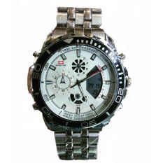 Swiss Time Dual Time - ST1925SW Jam Tangan Pria - Stainlesstell Strap - Silver White