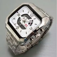 Swiss Time Dual Time - ST1981SW Silver White - Jam Tangan Pria - Stainlesstell Strap