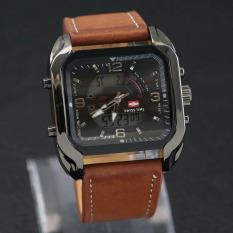 Swiss Time - Jam Tangan Dual Time Pria - Leather Strap - ST078 Light Brown