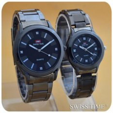 Swiss Time/Army - Jam Tangan Couple Stainless Steel S21811 Hitam