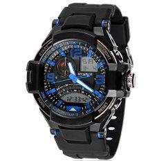 SYNOKE PU Strap Round Dial Digital & Quartz Watch Sport Waterproof Led Watch Ss67876_Blue