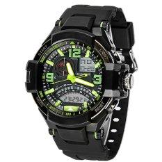 SYNOKE PU Strap Round Dial Digital & Quartz Watch Sport Waterproof Led Watch Ss67876_Green