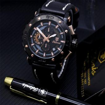 Tetonis Chronograph Paket FREE bonus Pulpen Jam Tangan Pria – Chrono Aktif - Leather Strap TTN