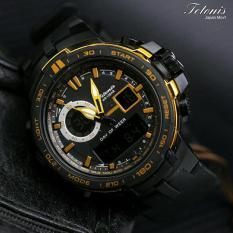 Tetonis Dual Time - Jam Tanga Sporty Pria - Rubber Strap - TS88 Dual Time