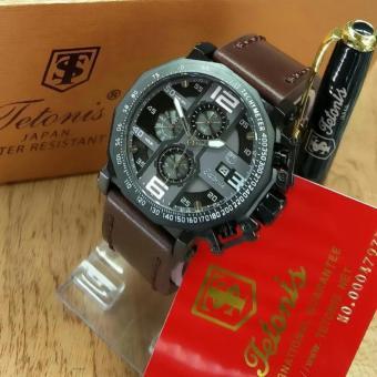 Tetonis Original TS 7652 ART- Jam Tangan Pria – Chrono Aktif - Leather Strap Coklat