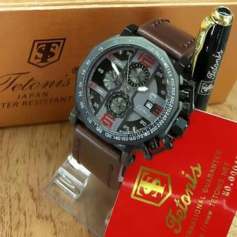 Tetonis Original -TS 7877 ART - Jam Tangan Pria – Chrono Aktif - Leather Strap