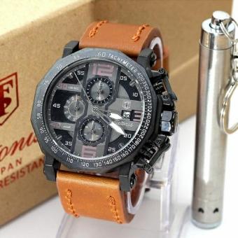 Tetonis Original TS3433BS - Jam Tangan Pria – Chrono Aktif - Leather Strap - Coklat