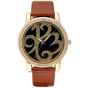 Time100 Ladies Creative Personalized Diamond Black Brown Strap Gold Dial Watch W80013L.02A