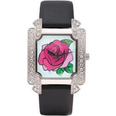Time100 Ladies' Diamond Rose Pattern Dial Black Leather Strap Fashion Wrist Watches W50040L.01A