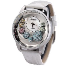 TIME100 Ladies' Diamonds Shell Dial Leather Strap Watch W50080L.01A