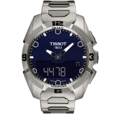 Tissot T091.420.44.041.00 T-Touch Expert Solar Blue Dial Titanium Men's Watch - Silver