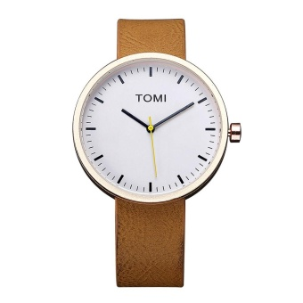 TOMI Fashion Casual Men 's Bussines Retro Design Leather Round Band Watch BW - intl