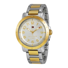 Tommy Hilfiger Watch Silver Stainless-Steel Case Two-Tone-Stainless-Steel Bracelet Ladies NWT + Warranty 1781398
