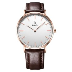 toobony IK colouring Ultra Thin Minimalist Mens Watches Top Brand Luxury Genuine Leather Strap Fashion Casual Quartz Watch Business Man (rose gold coffee) - intl