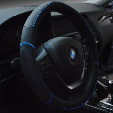 Top Leather Car Steering Wheel Cover Anti-slip Soft Breathable Automotive Interior Accessories Piercing 15 Inch Steering Wheel Wrap (Black / Blue Line)