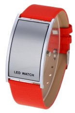 Toprank Leather Women Sports Wrist Watch Unisex LED Digital (Red) (Intl)