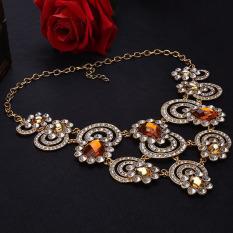 Toprank Retro Style Women's Elegant Luxury Rhinestone Crystal Choker Necklace Golden
