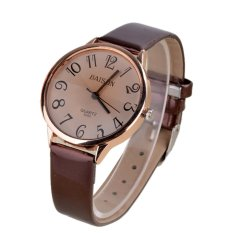 Toprank Women Casual Round Shape Synthetic Leather Strap Quartz Wrist Watch (Brown)
