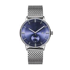 TTLIFE Luxury Brand Men's Simplicity Design Stainless Steel Mesh Watch Strap Calendar Display Quartz Watch (Blue)