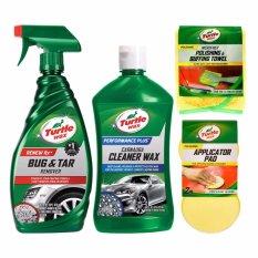 Turtle Wax - Paket Perawatan Exterior - Bug & Tar Remover + Carnauba Cleaner Wax Liquid + Aplicator Pad + Microfiber Polishing & Buffing Towel