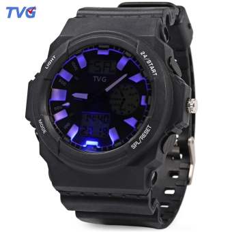 TVG KM - 391 Multifunctional Male Dual Movt Watch LED Display Calendar 3ATM Sport Wristwatch (White)