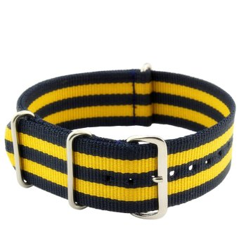 Twinklenorth 20mm Black Yellow Multi Stripes Nato Strap Nylon Military Watch Band Strap Watchband NATO-012