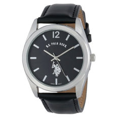 U.S. Polo Assn. Classic Men's USC50005 Silver-Tone Watch With Black Genuine Leather Band - Intl