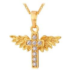 U7 18K Gold Plated Angel Wing Cross Necklace Austrian Rhinestone Jewelry