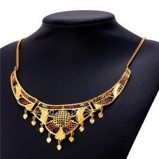 U7 Bohemian Tassel Heart Choker Necklace 18K Real Gold Plated Fashion Women Jewelry (Gold) (Intl)
