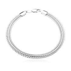 U7 Buntut Rubah Gelang Rantai Pria Perhiasan Berlapis Platinum (Perak)
