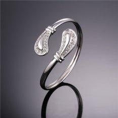 U7 Crystal Cuff Bracelet Platinum Plated High Quality Rhinestone Fashion Women Jewelry (Platinum)
