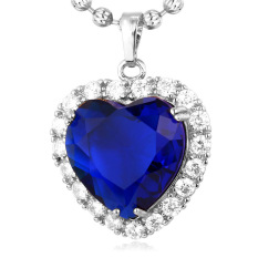 U7 Heart Of Ocean Pendant Necklace Platinum Plated Cubic Zirconia Blue Natural Stone Jewelry