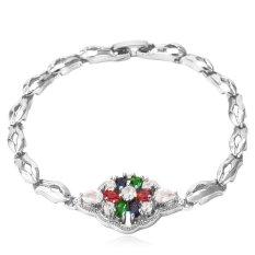 U7 Luxury AAA Zircon Bracelet Platinum Plated Women Colorful Zirconia Flower Jewelry Chain Bracelet (Platinum)