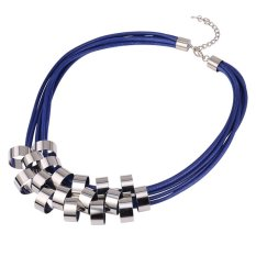 U7 Multi-layer Western Style Choker Necklace Perfect Gift For Her Platinum Plated Sweater Chain (Blue) (Intl)