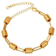 U7 New Design Women 18K Real Gold Plated Fashion Jewelry Adjustable Chain Bracelet (Gold)