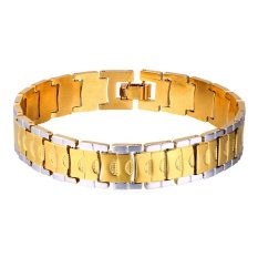 U7 New Two Tone Gold 18K Real Gold Plated Platinum Plated Jewelry Chain Bracelet (Intl)