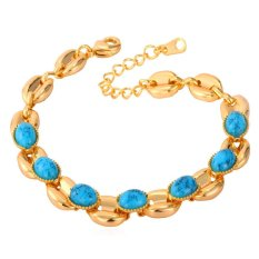 U7 Turquoise Chain Adjustable Bracelet 18K Real Gold Plated Jewelry (Gold) (Intl)